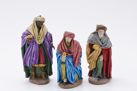 Christmas Scene. Adoration of The Three Wise Men. White Background. photo
