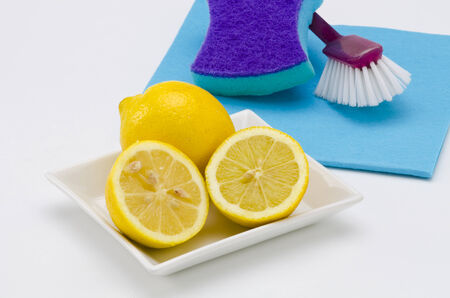 Lemon is used for cleaning metal surfaces, dishes and clothes