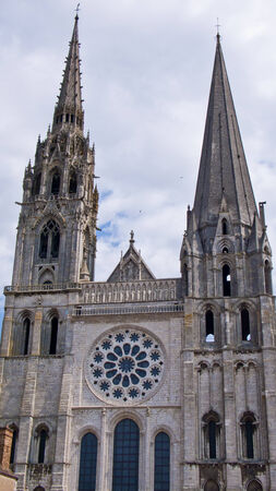 chartres: Chartres, France.View of mediaeval Cathedral of Notre Dame, main facade, built between 1194 and 1250.
