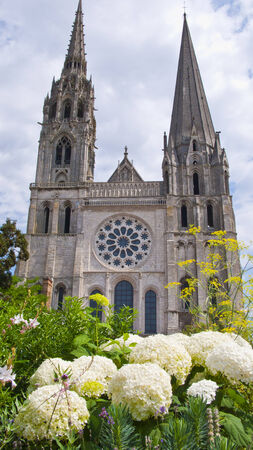 chartres: Chartres, France.View of mediaeval Cathedral of Notre Dame, main facade, built between 1194 and 1250.  Stock Photo