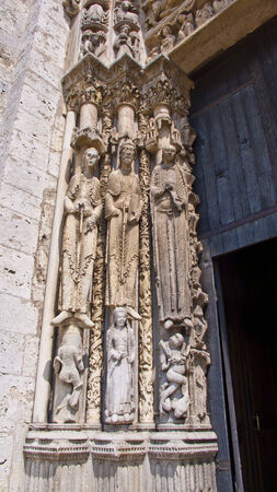 chartres: Chartres, France.Cathedral of Notre Dame, built between 1194 and 1250. Statues of the Royal Portal.