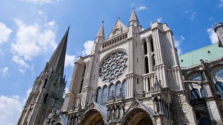 chartres: Chartres, France.View of mediaeval Cathedral of Notre Dame,  North side, built between 1194 and 1250.