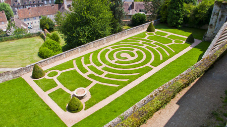 chartres: Chartres, France.View of labyrinth at Bishops Garden. Stock Photo