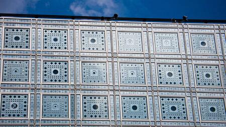 arabe: París, Francia. L'Institut du Monde Arabe. Árabe edificio del Instituto Mundial.