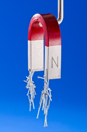 horseshoe magnet: Horseshoe magnet holding a bunch of nails. Blue background.