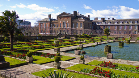incidental people: London, United Kingdom - March 31, 2015: Kensington Palace and Gardens. Incidental people in background.
