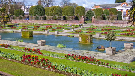 kensington: London, United Kingdom - March 31, 2015: Kensington Palace and Gardens. English Gardens. Editorial