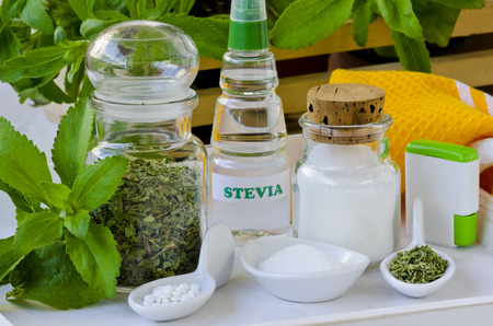 Variety of Stevia Products. Natural Sweetener. Selective Focus. Taken in daylight.