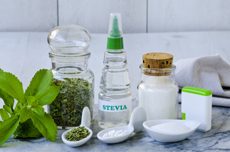 substitute: Variety of Stevia Products. Natural Sweetener. Selective Focus. Taken in daylight.