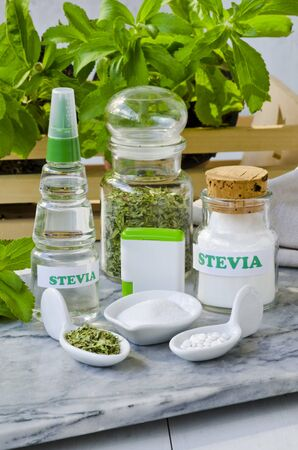 sweetener: Variety of Stevia Products. Natural Sweetener. Selective Focus. Taken in daylight.