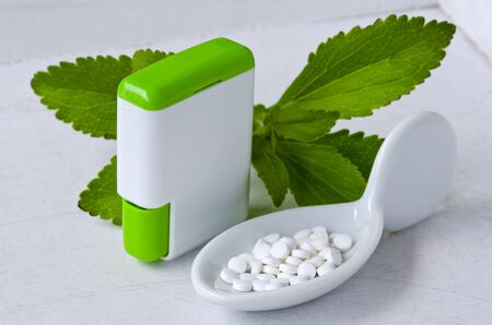 sweetener: Stevia Pills. Natural sweetener. Selective Focus. Taken in daylight.