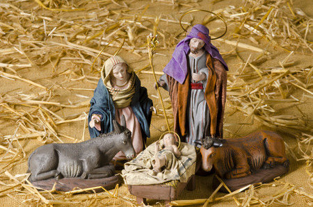 Christmas Crib. Figures of Baby Jesus, Virgin Mary and St. Joseph Stock fotó