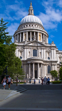incidental people: London, United Kingdom -  July 24, 2016. View of St. Pauls Cathedral and Gardens,