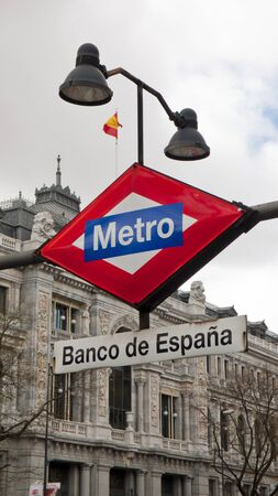 Madrid, Spain - March 15, 2018: View of the Bank of Spain, Spanish National Reserve Bank, Madrid. Banco de España.