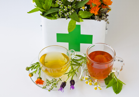 Herbal Medicine. Rosemary, mint, chamomile, thyme, melissa, lavender and calendula in a first aid box. Two glass cups of infusions in foreground. Banque d'images