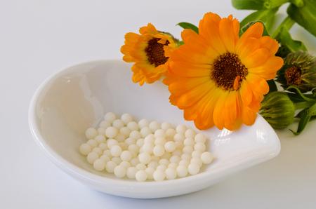 Alternative Medicine. Homeopathy. Calendula globules on white background.