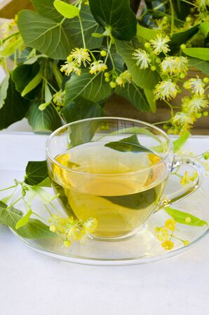 Alternative Medicine. Herbal Therapy. Lime blossom tea in a glass cup. White background.