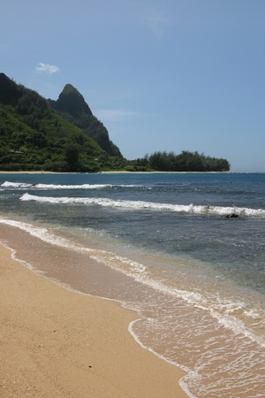 Tunnels Beach, Kauai, Hawaii, Portrait view with Makana Peak (Bali Hai) in the background. Waves slapping against the soft sandy stretch of Tunnels Beach, with a view of the popular Makana Peak 版權商用圖片