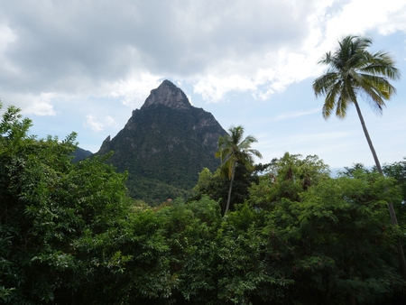 One of the Piton mountains in Soufriere Town at the base, St. Lucia, Caribbean Islands