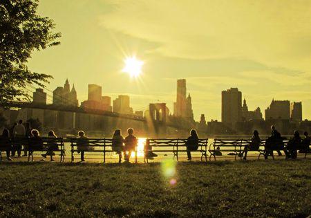 brooklyn: Enjoying Brooklyn Bridge                                Stock Photo