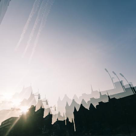 dreamscape: Double exposure photograph of a city skyline