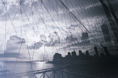 manhattan bridge: Double exposure photograph of Manhattan bridge