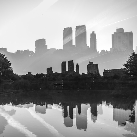 dreamscape: Double exposure photograph of city skyline in New York City Stock Photo