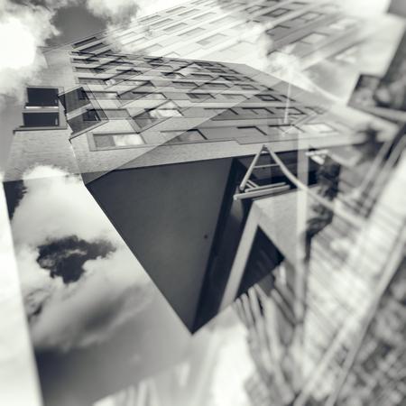 dreamscape: Double exposure photograph of a city buliding Stock Photo