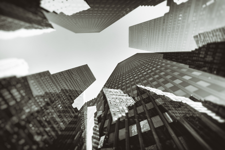 Double exposure photograph of city buildings