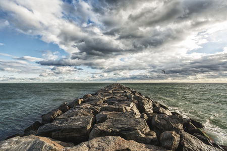 mid distance: Photograph shows a coastal landscape in Rhode Island