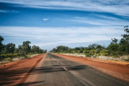 on the lonely road: Landscape of a lonely road in New Wales, Australia Stock Photo