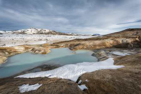 mud snow: Myvatn winter landscape in the northern part of Iceland Stock Photo