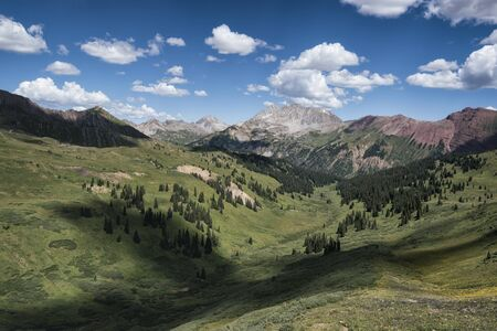 Panoramic view of idyllic summer landscape in the Rocky Mountains