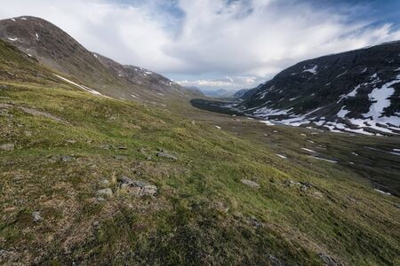 Panoramic view of idyllic landscape in Northern Sweden Stock Photo