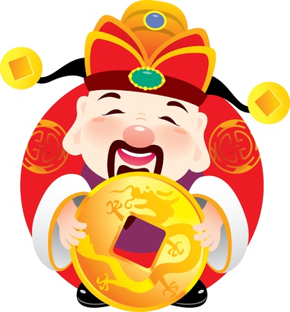 Money God holding an ancient golden in Chinese New year Illustration