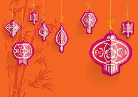 오렌지 배경에 중국 손전등 그림