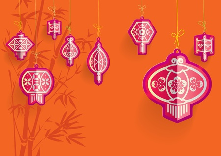 Chinese Lanterns illustration on Orange backgrounds Vector