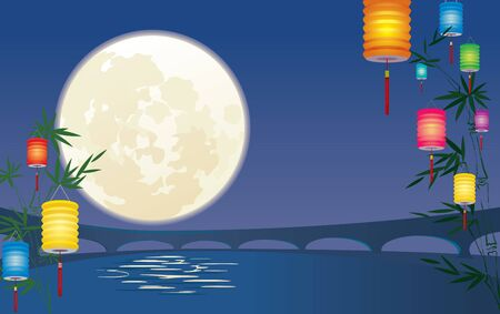 mid autumn: Chinese Mid-autumn Festival background Illustration