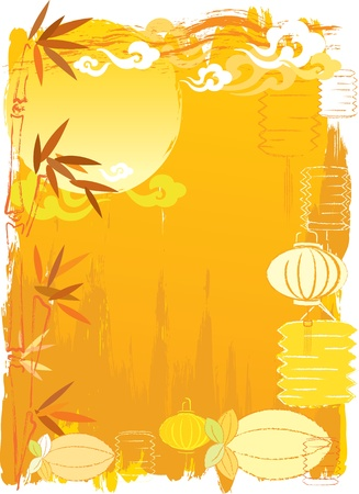 red lantern: Chinese New Year Day or Mid autumn festival abstract background Illustration