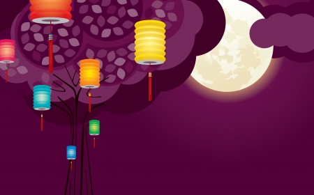Chinese lantern in purple full moon night Vector