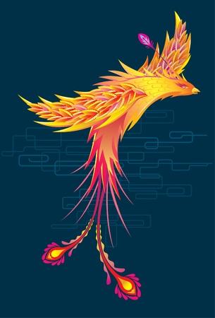 phoenix bird: Color Phoenix Phoenix flying in the dark Illustration