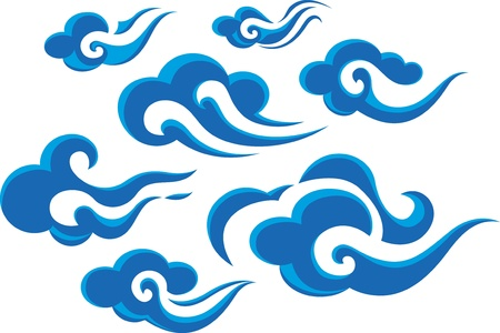 Chinese or Japanese style cloud set Stock Vector - 11613753