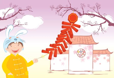 Boy celebra el año nuevo chino con sombrero de conejo