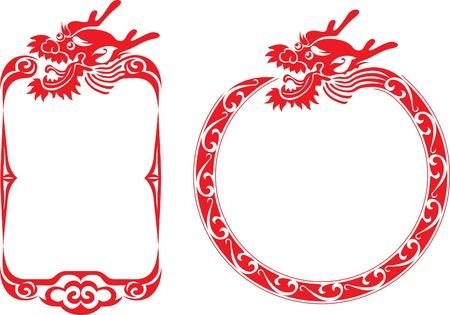 papercut: Chinese dragon border illustrations