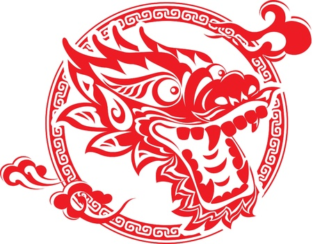 chinese dragon: Rouge art chinois Dragon Head