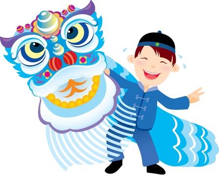 중국 사자 무용을 재생하는 소년 일러스트