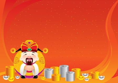 lingotto: Dio cinese della prosperit� con sfondo fortuna tradizionale