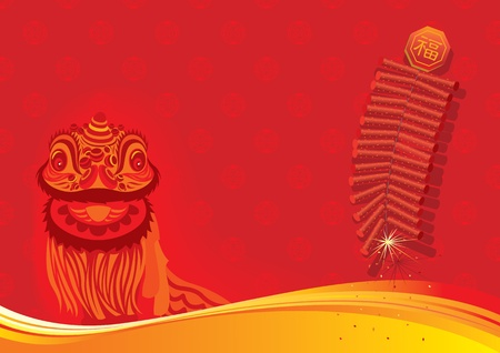New year day background - Lion dancing and firecracker Vector