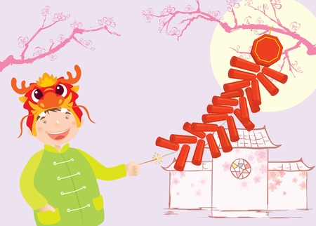 Boy celebrates Chinese New year Vector