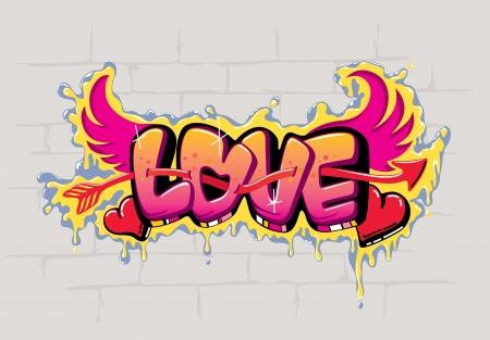 벽에 사랑의 기호 낙서 그림 일러스트